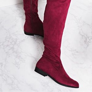 Thigh high boots wine color🍁🍂